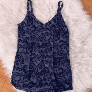 Gray Tank Top with Black paisley deail